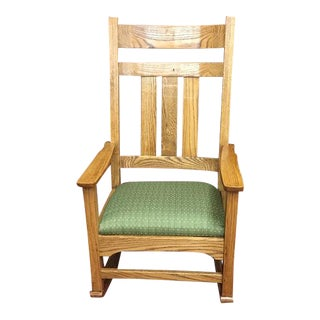 Oak Mission Style Rocking Chair For Sale