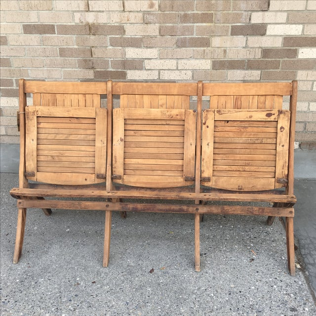 Vintage Tandem Folding Stadium Theatre Seats For Sale - Image 4 of 7
