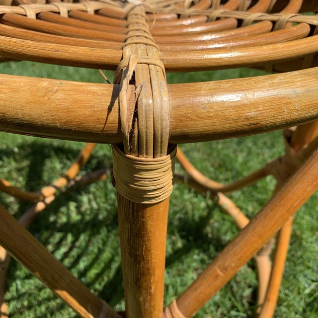 Vintage Boho Round Rattan & Bamboo Side Table / Plant Stand For Sale - Image 4 of 9