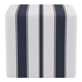 Cube Ottoman in Navy Clarence Stripe For Sale