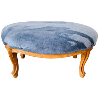 1950s French Footstool in Scalamandré 'Polar Bear - Blue Frost' Mohair For Sale