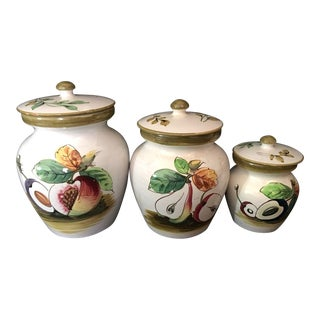 Italian Fruit Painted Pottery Jars - Set of 3