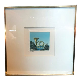 "Surrealist ""Horn & Beach"" Small Signed Lithograph Print For Sale"