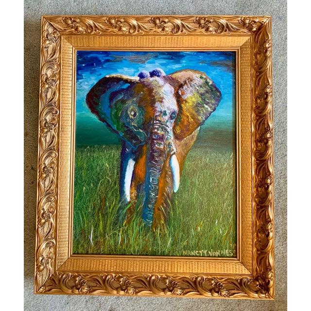 Illustration Original Oil Painting of Elephant, Framed For Sale - Image 3 of 11
