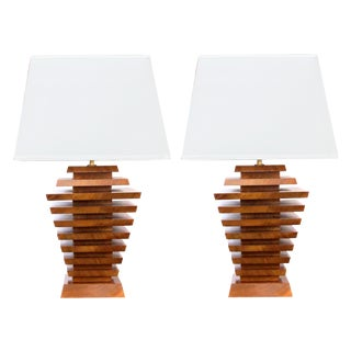 A Truly Unique and Stylish Pair of American 1960's Stacked Maple Lamps of Tapering Form For Sale
