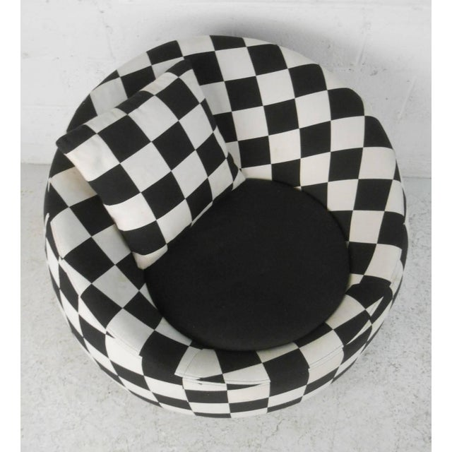 Checkered Contemporary Modern Italian Club Chair For Sale - Image 5 of 8