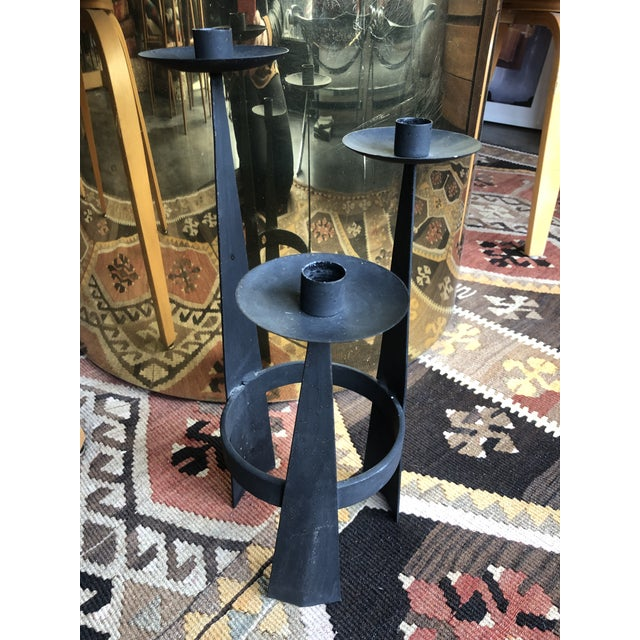 1960s 1960s Mid-Century Brutalist Iron Candelabra For Sale - Image 5 of 7