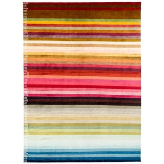 "Contemporary Silk Area Rug Multi Colors by Carini-9'x12"" For Sale"