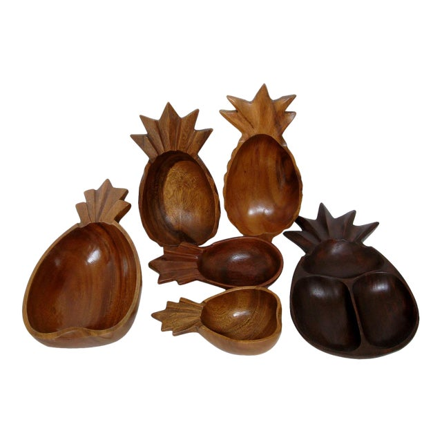 Wood Pineapple Bowls - Set of 6 For Sale