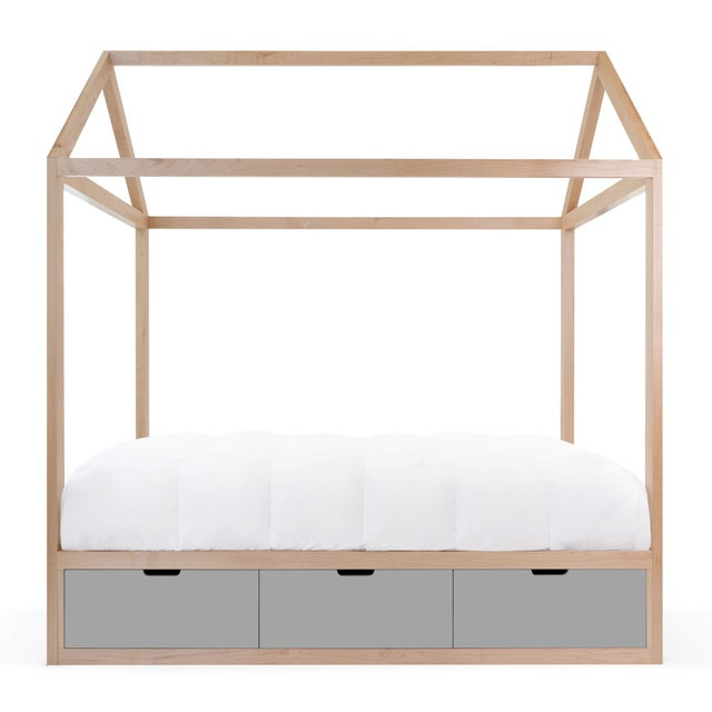 Contemporary Domo Zen Twin Canopy Bed in Maple With Gray Finish Drawers For Sale - Image 3 of 3