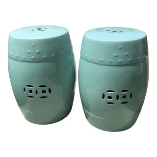 Green Ceramic Garden Stools - a Pair For Sale