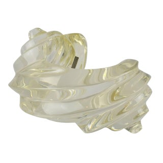 Fashion Designer Uterque Oversized Bold Deeply Carved Clear Lucite Cuff Bracelet For Sale
