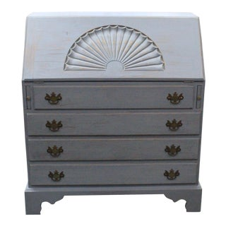1950s Country Shell Carved Secretary Desk For Sale