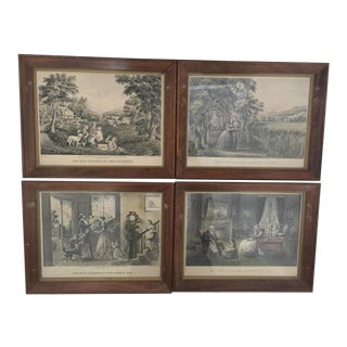 Currier & Ives Hand Colored Lithograph (Offset) Entitled: The Four Seasons of Life 1952 For Sale