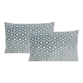 Cerulean Blue Paloma Cut Velvet Lumbar Pillows - a Pair For Sale