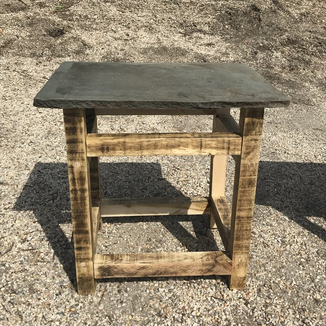 Pair of custom handcrafted side tables. Made from naturally bleached reclaimed oak with cut Shale tops, pegged...