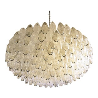 Large Venini Polyhedron Clear/Beige Murano Chandelier, Mid Century Modern, 1970s