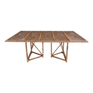 1960s Boho Chic Rattan Rectangular Dining Table