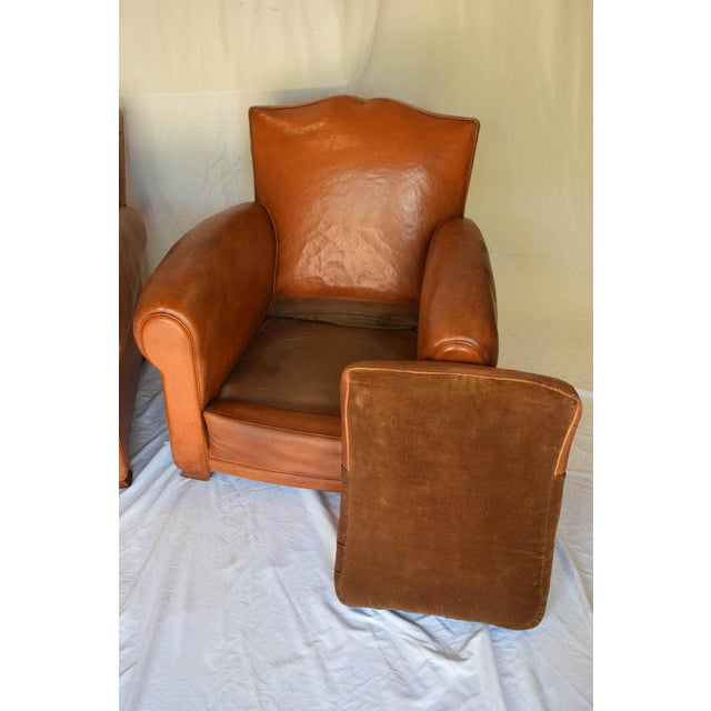 Brown 1930s Leather Moustache Leather Club Chairs - a Pair For Sale - Image 8 of 13