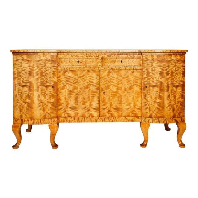 Swedish Art Deco Sideboard of Bookmatched Golden Flame Birch For Sale