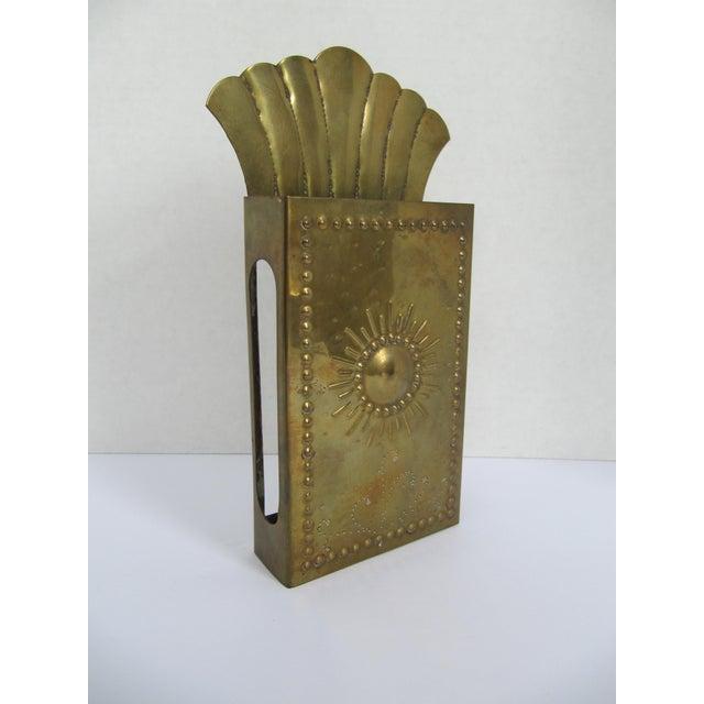 Boho Chic Vintag Brass Starburst Match Stick Holder For Sale - Image 3 of 6