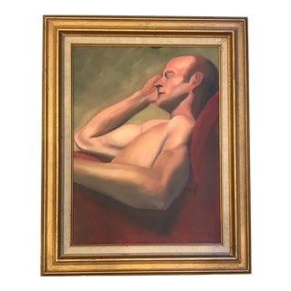 Portrait Life Style Oil Painting on Board of Sleeping Nude Male, Framed For Sale