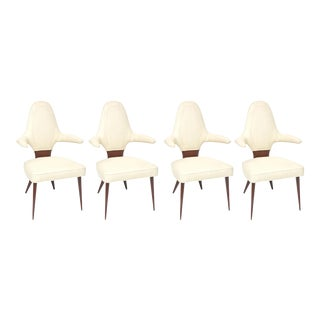 Set of Four Italian Modern Mahogany Armchairs, Silvio Cavatorta For Sale