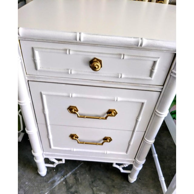Gorgeous Vintage Thomasville Faux Bamboo Desk with chair. This desk was completely made over in a White High Gloss Oil...