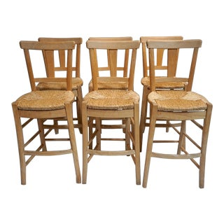 Hand Made French Sycamore Bar Stools- Set of 6 For Sale