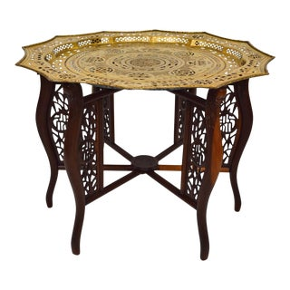 Asian Dragons Carved Coffee / Tea Table With Brassware Tray Top For Sale