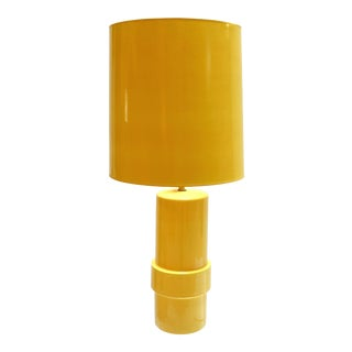 1960s Modern Ceramic Yellow Lamp With Yellow Shade For Sale