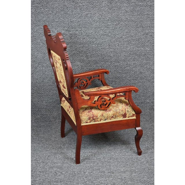 1930s Antique Old World Ornately Carved Shield Back Arm Chair Burgundy Floral Tapestry For Sale - Image 5 of 13