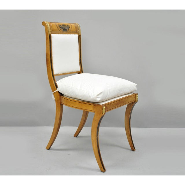 Regency Neoclassical Style Saber Klismos Leg Accent Side Desk Chair For Sale - Image 13 of 13