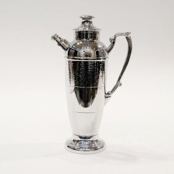 "Circa 1940's - with ""Hammered"" band detail Marked ""Cromwell Silver Mfg Co./Chromium"" 13 1/4 inches tall. 4 inches in..."