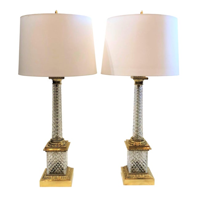 Pair Estate Cut Crystal Column Lamps with Ormolu Mounts, Circa 1930-1940. For Sale