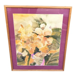 Palm Beach Chic Style Golden Orchids Large Original Watercolor Painting For Sale