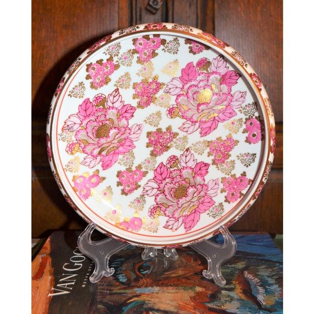 Imari Porcelain Pink and Gold Imari Japanese Porcelain Platter For Sale - Image 4 of 8