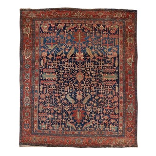 Heriz Allover Design Blue Ground Carpet For Sale