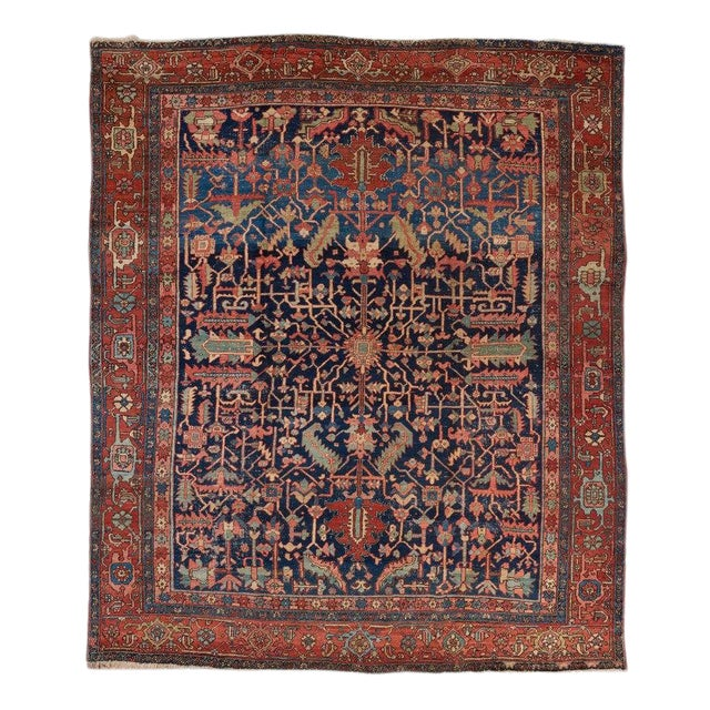 Heriz Allover Design Blue Ground Carpet For Sale