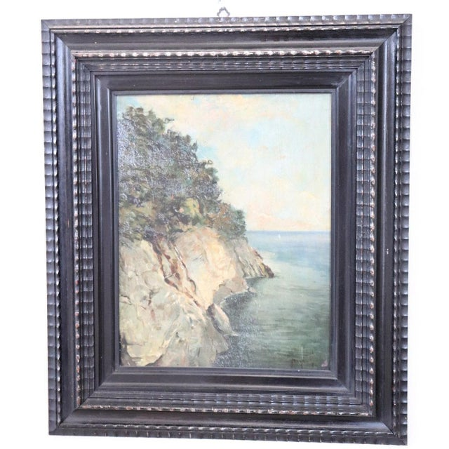 20th Century Oil Painting on Wood Table Signed Landscape of the Italian Coast For Sale - Image 6 of 6