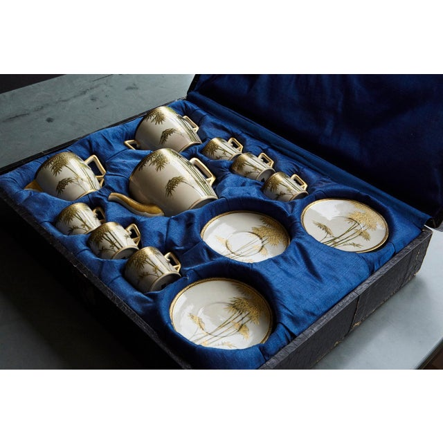 White Japanese Hand Painted and Gilded Demitasse Coffee Service, New in Box, 1930s For Sale - Image 8 of 13