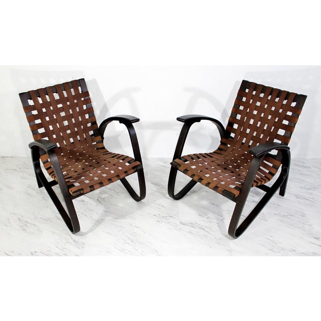 Boho Chic Mid-Century Modern Jan Vanek Bentwood Easy Arm Chairs with Woven Straps - a Pair For Sale - Image 3 of 8
