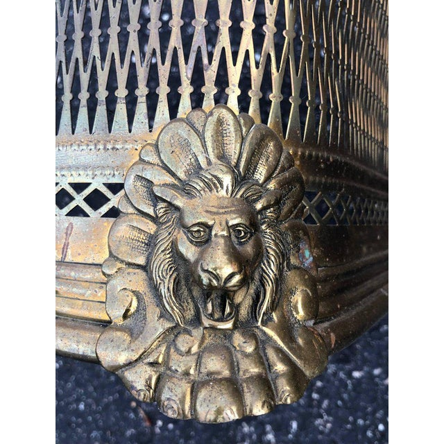 Gold Pierced Brass Fireplace Fender With Lions For Sale - Image 8 of 11