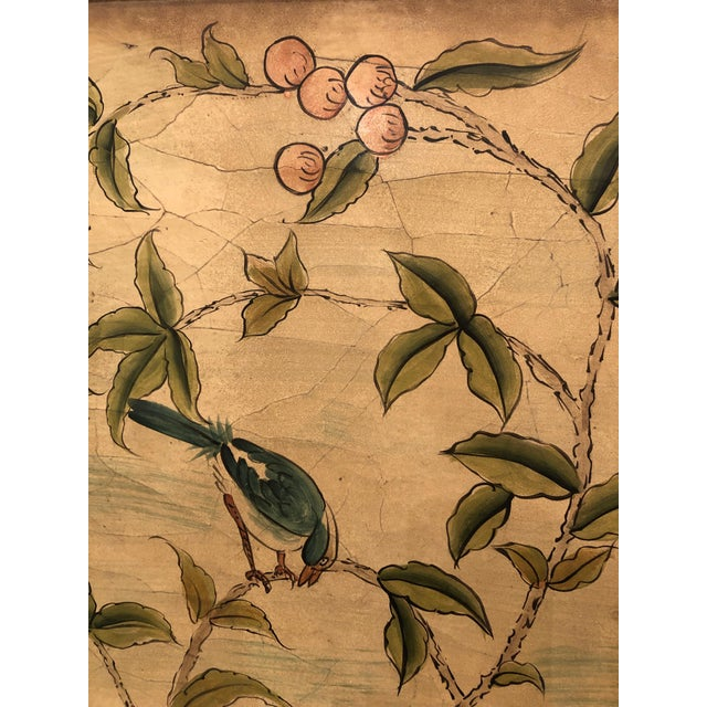Hand Painted Asian Panels With Birds & Foliage - a Pair For Sale In Philadelphia - Image 6 of 10