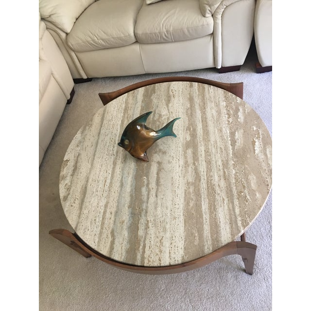 Mid-Century Modern Bertha Schaefer Travertine and Walnut Coffee Table For Sale - Image 3 of 5