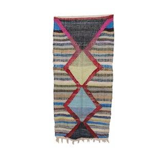 1980s Boucherouite Moroccan Kilim - 4′1″ × 8′6″ For Sale