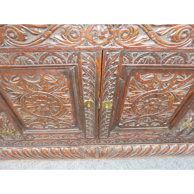 Antique European Detailed and Highly Carved Sideboard With Key - Image 7 of 10