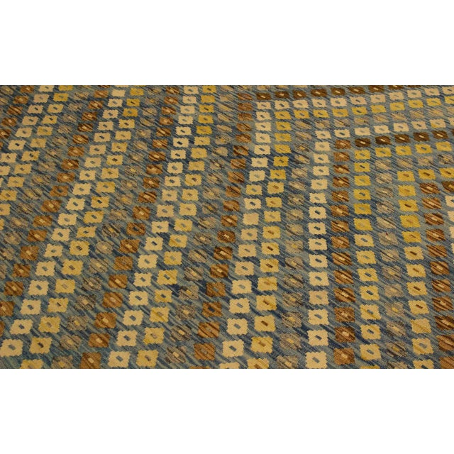 Textile Shabby Chic Abstract Zorion Blue/Brown Hand-Woven Kilim Wool Rug -6'1 X 7'9 For Sale - Image 7 of 8