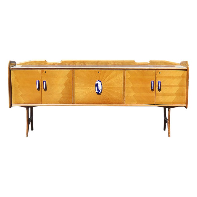 Brown Mid Century Italian Glass Top Credenza For Sale - Image 8 of 8