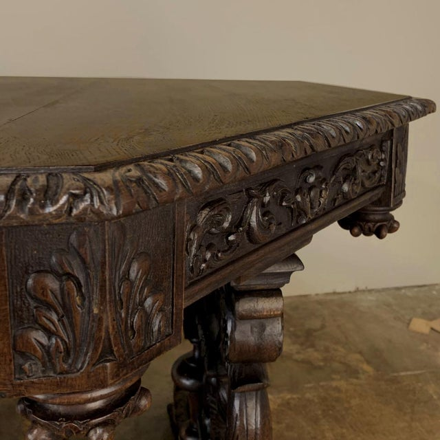 19th Century French Renaissance Octagonal Library Table For Sale In Dallas - Image 6 of 13